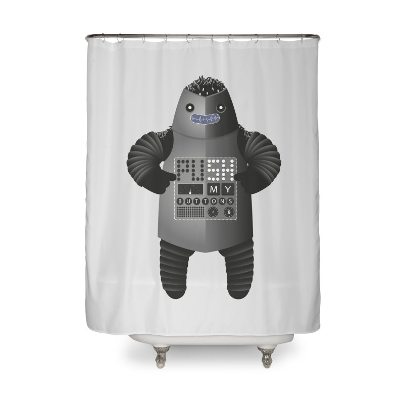 Push My Buttons Home Shower Curtain by The Illustration Booth Shop