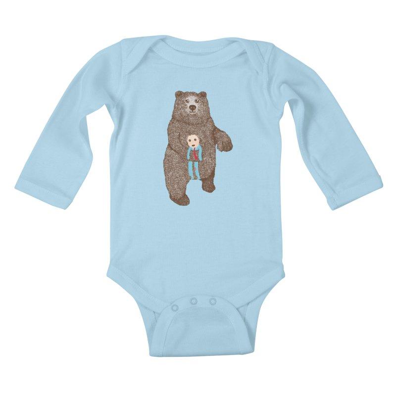 A Bear's Best Friend Kids Baby Longsleeve Bodysuit by The Illustration Booth Shop