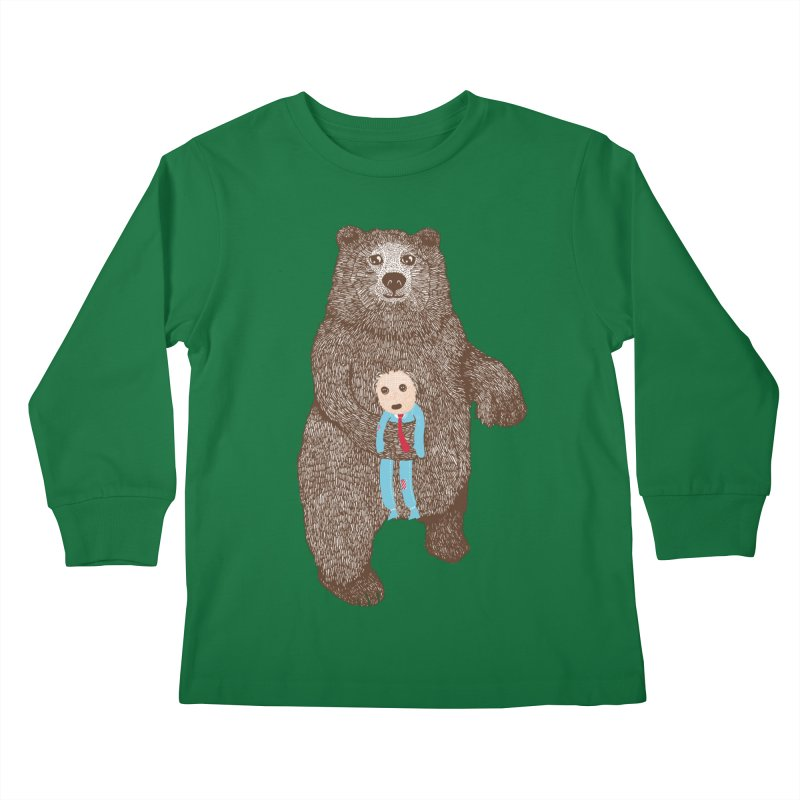 A Bear's Best Friend Kids Longsleeve T-Shirt by The Illustration Booth Shop