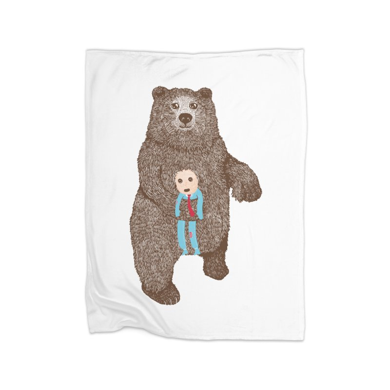A Bear's Best Friend Home Blanket by The Illustration Booth Shop