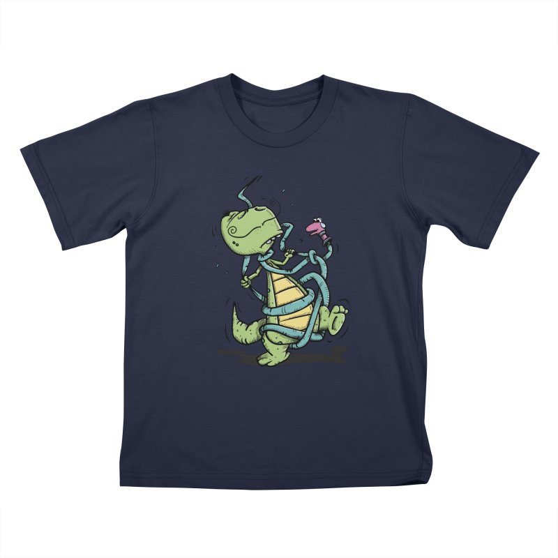 Epic Fight in Kids T-Shirt Navy by Illustrated Madness