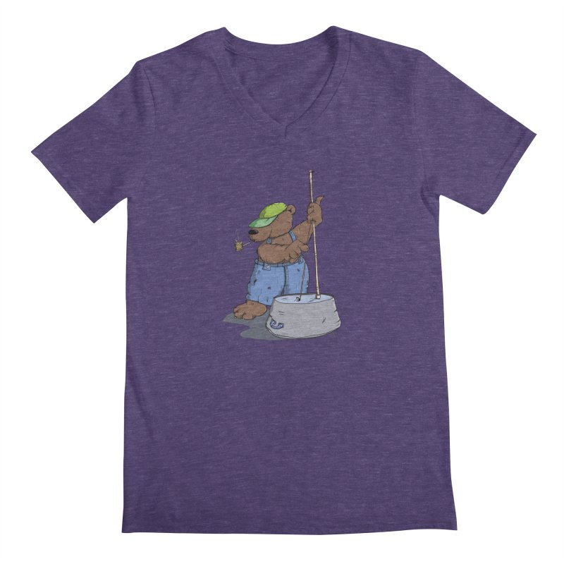 The Bear plays a cool Bass Men's V-Neck by Illustrated Madness