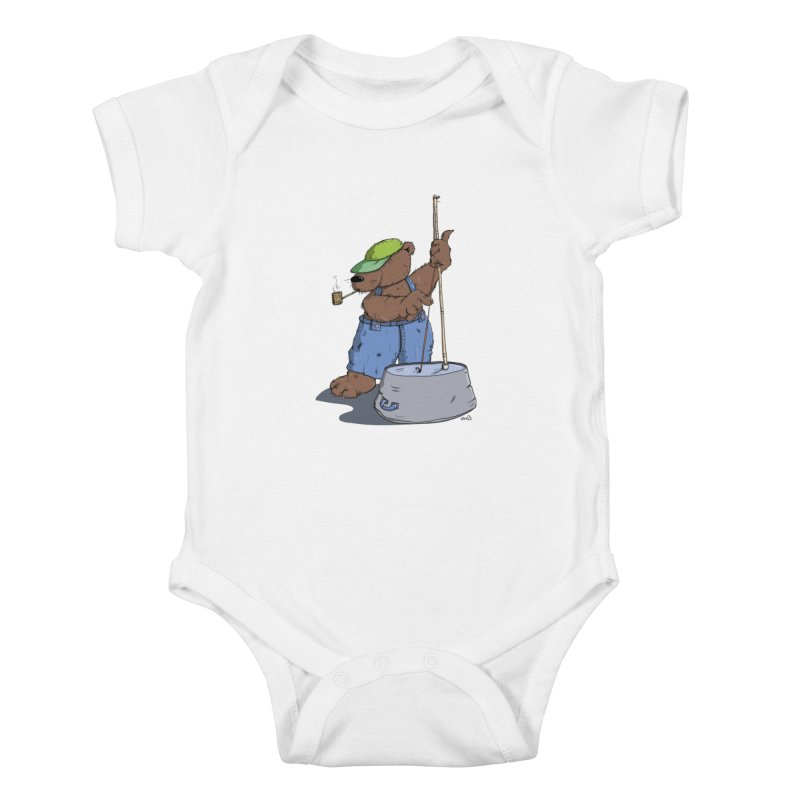 The Bear plays a cool Bass Kids Baby Bodysuit by Illustrated Madness
