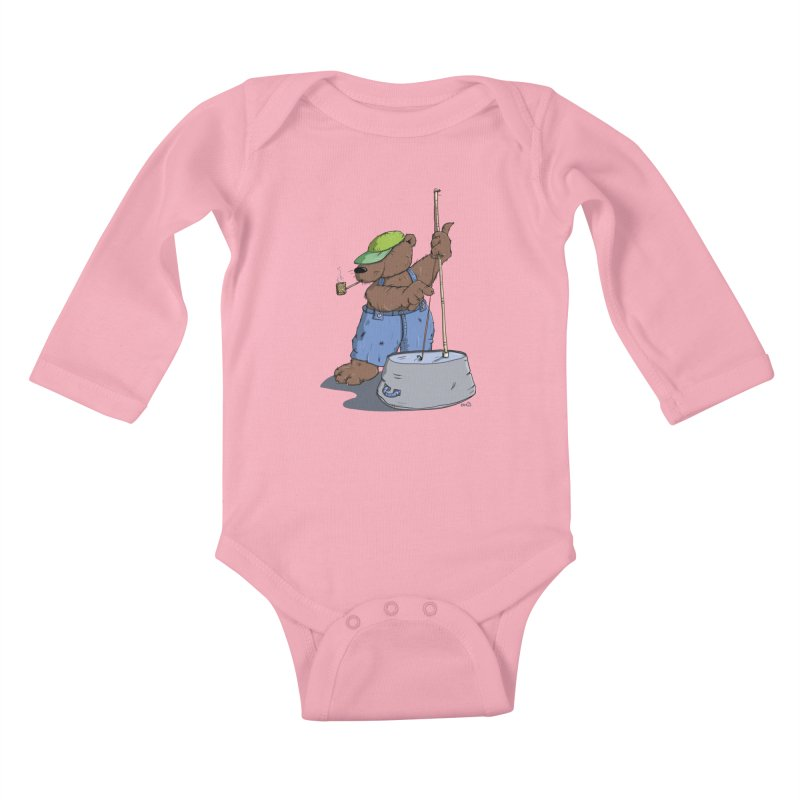 The Bear plays a cool Bass Kids Baby Longsleeve Bodysuit by Illustrated Madness
