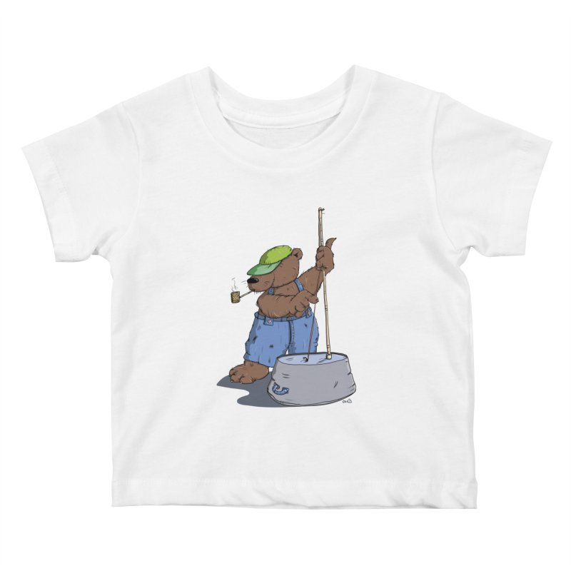The Bear plays a cool Bass Kids Baby T-Shirt by Illustrated Madness