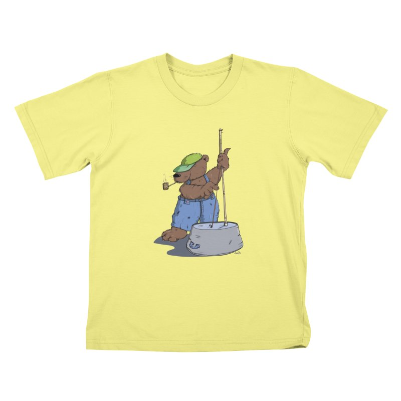 The Bear plays a cool Bass Kids T-shirt by Illustrated Madness