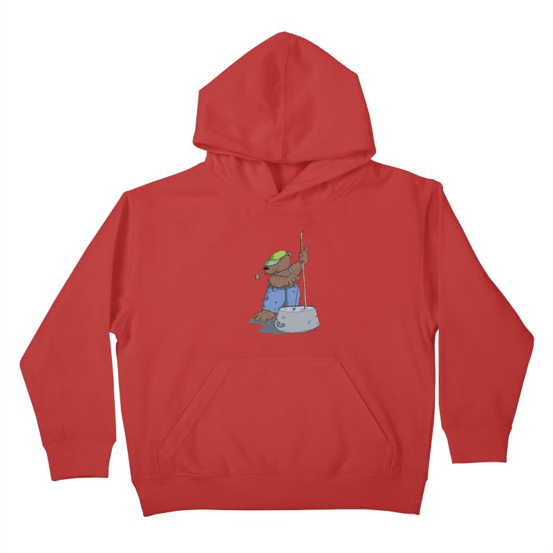 The Bear plays a cool Bass Kids Pullover Hoody by Illustrated Madness