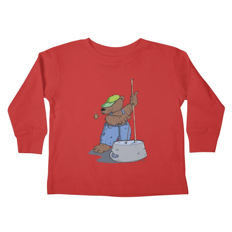 The Bear plays a cool Bass Kids Toddler Longsleeve T-Shirt by Illustrated Madness
