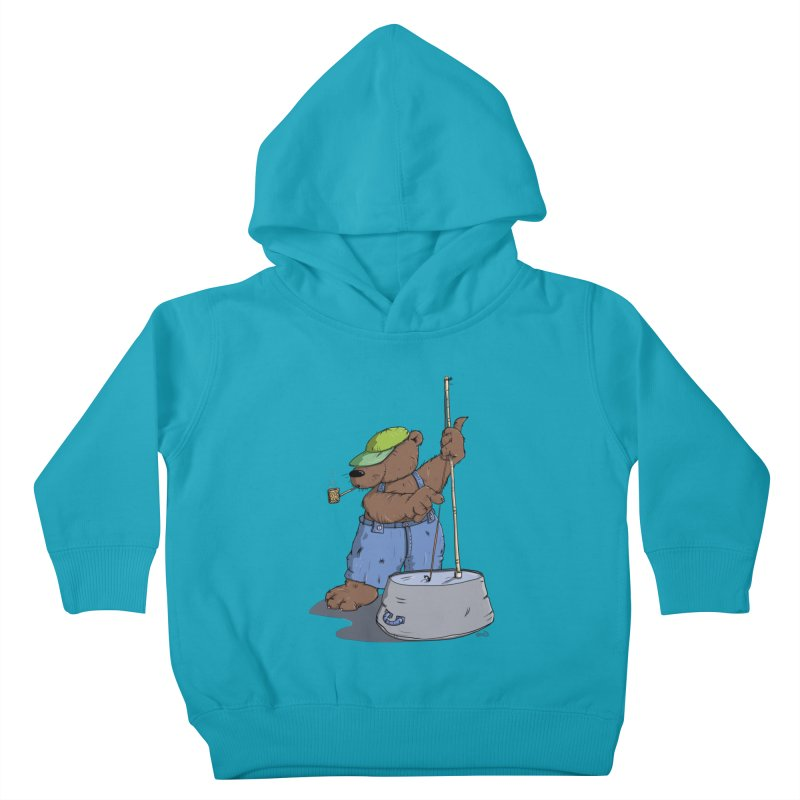 The Bear plays a cool Bass Kids Toddler Pullover Hoody by Illustrated Madness