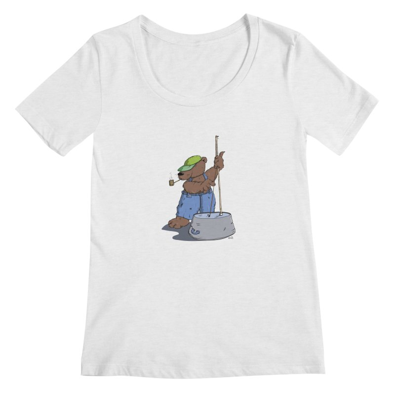 The Bear plays a cool Bass Women's Scoopneck by Illustrated Madness