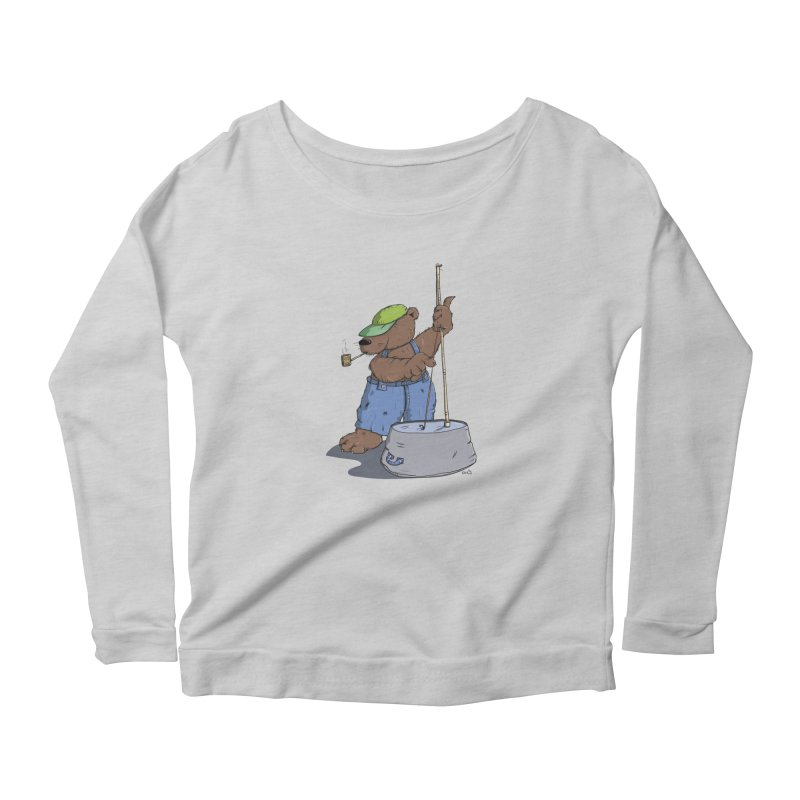 The Bear plays a cool Bass Women's Longsleeve Scoopneck  by Illustrated Madness