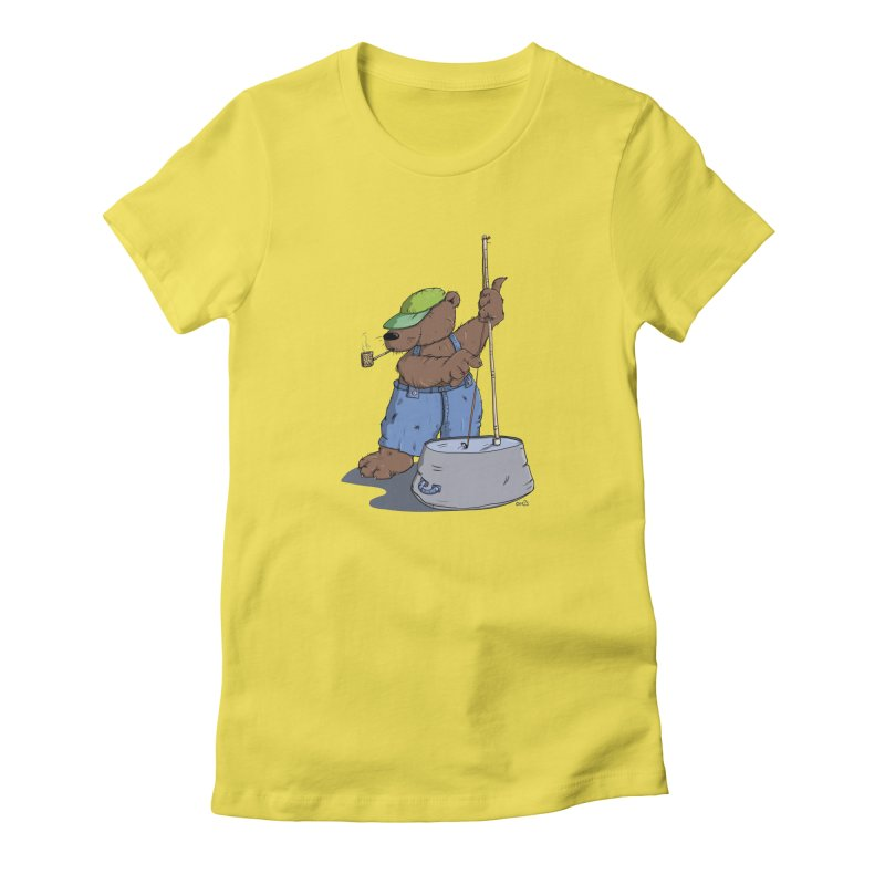 The Bear plays a cool Bass Women's Fitted T-Shirt by Illustrated Madness