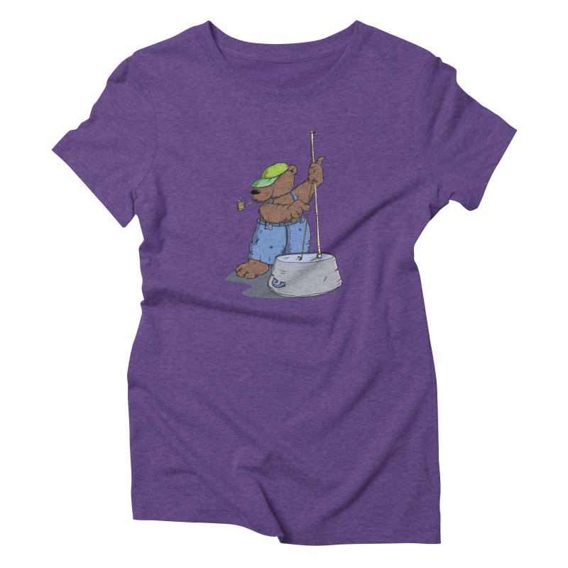 The Bear plays a cool Bass Women's Triblend T-shirt by Illustrated Madness