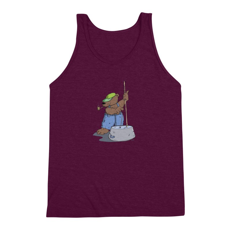The Bear plays a cool Bass Men's Triblend Tank by Illustrated Madness