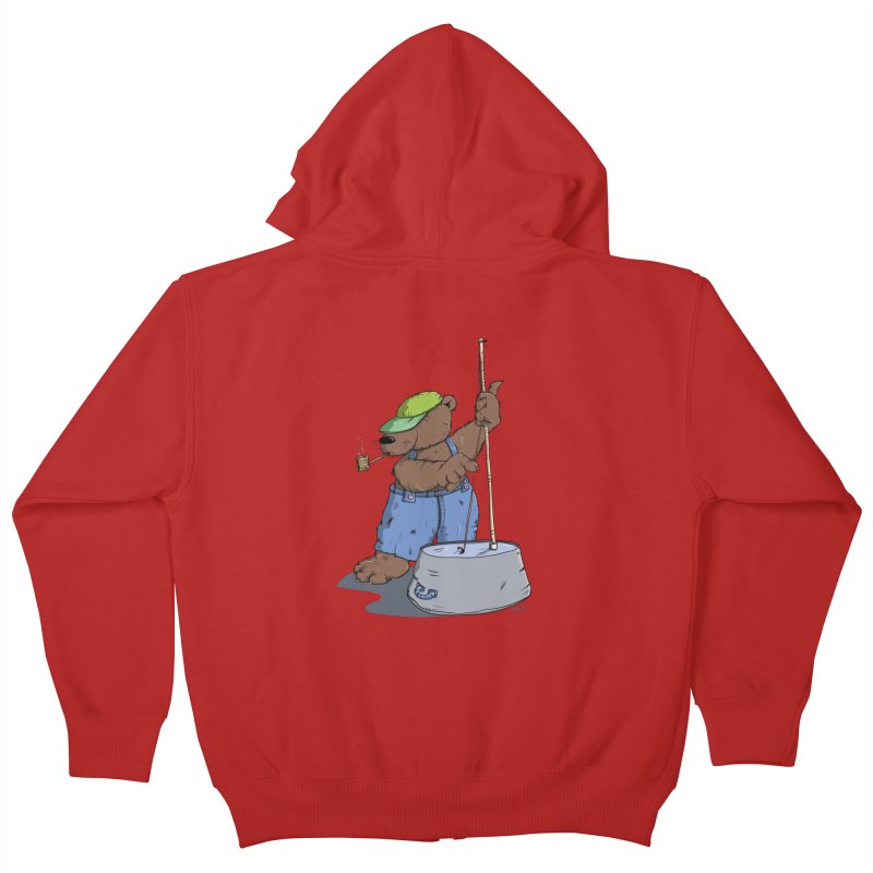 The Bear plays a cool Bass Kids Zip-Up Hoody by Illustrated Madness