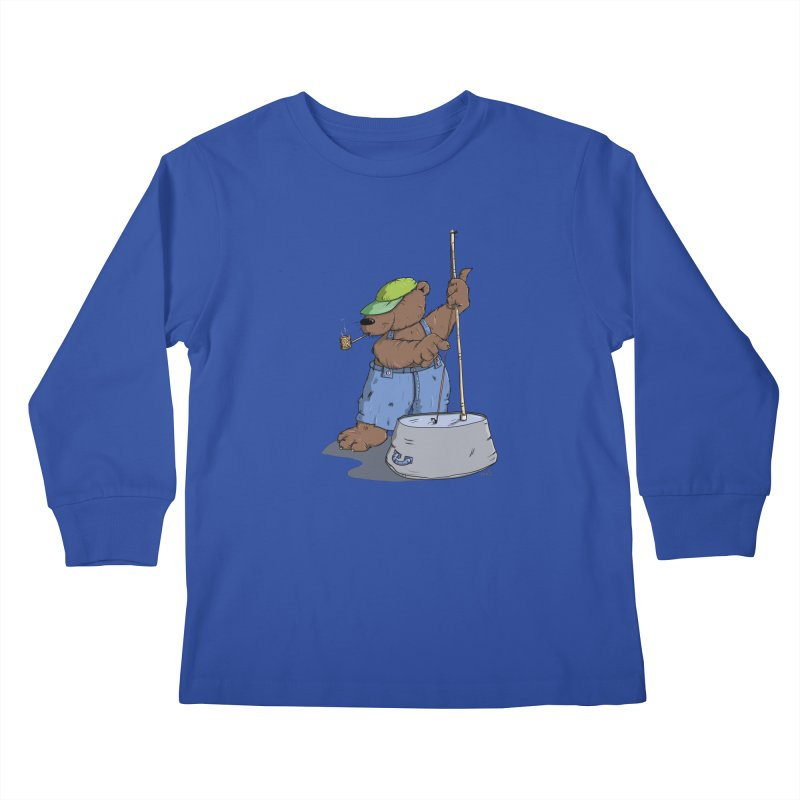 The Bear plays a cool Bass Kids Longsleeve T-Shirt by Illustrated Madness