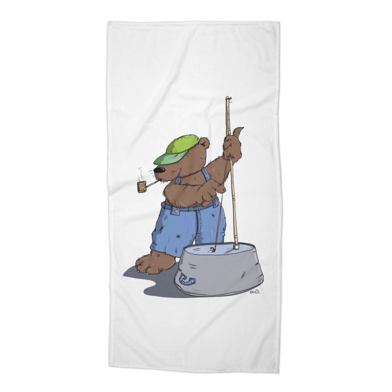 The Bear plays a cool Bass Accessories Beach Towel by Illustrated Madness