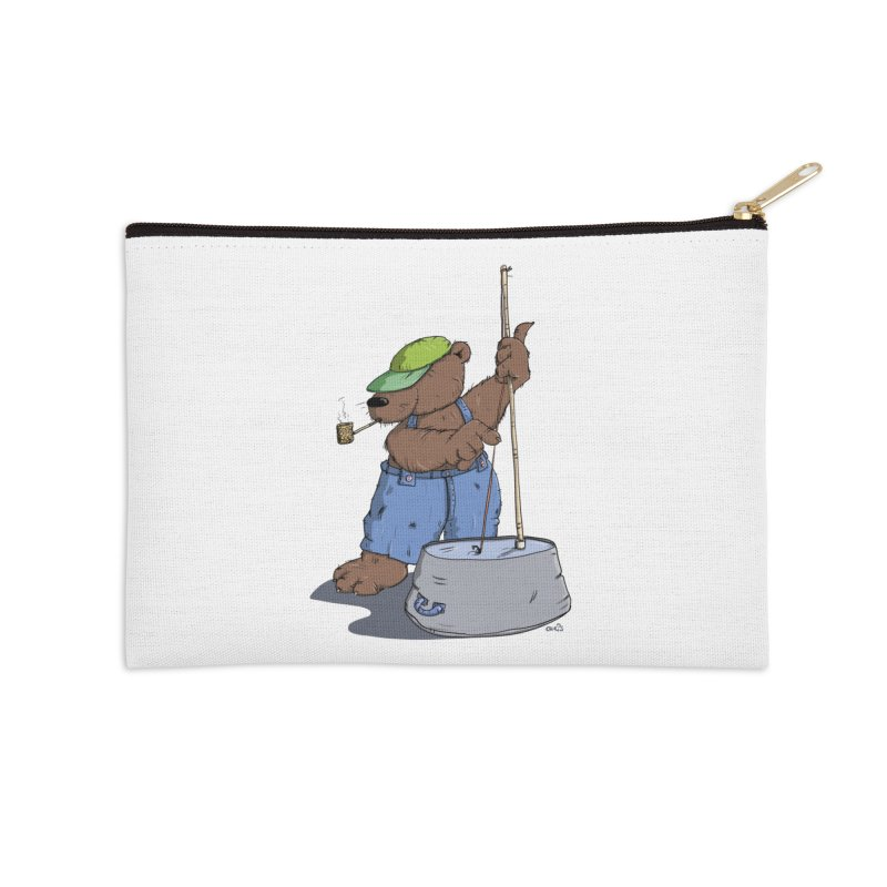 The Bear plays a cool Bass Accessories Zip Pouch by Illustrated Madness