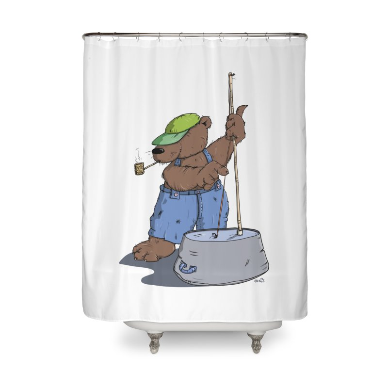 The Bear plays a cool Bass Home Shower Curtain by Illustrated Madness