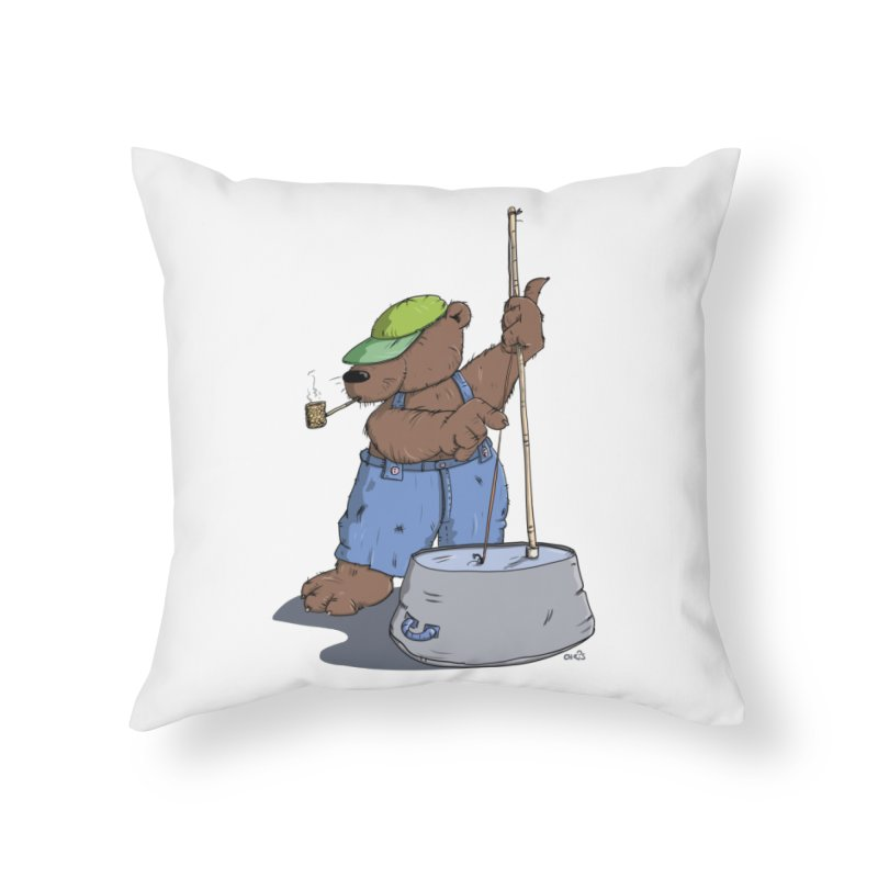 The Bear plays a cool Bass Home Throw Pillow by Illustrated Madness