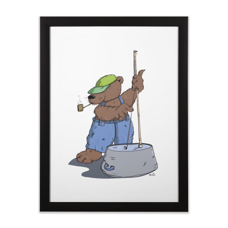 The Bear plays a cool Bass Home Framed Fine Art Print by Illustrated Madness