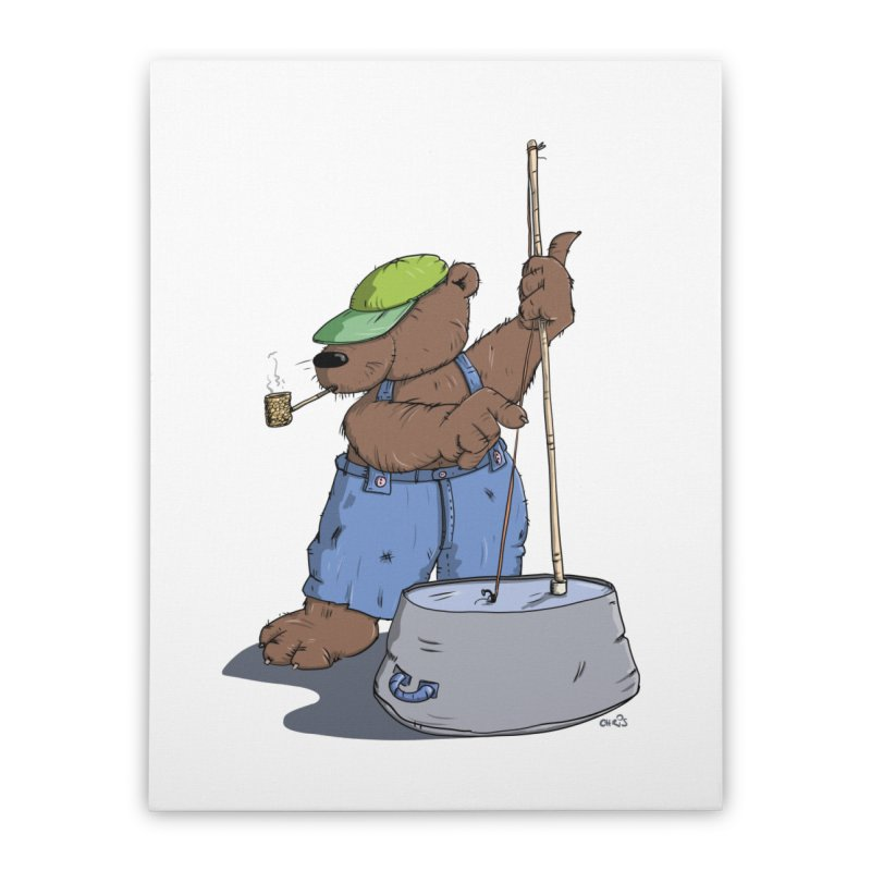 The Bear plays a cool Bass Home Stretched Canvas by Illustrated Madness