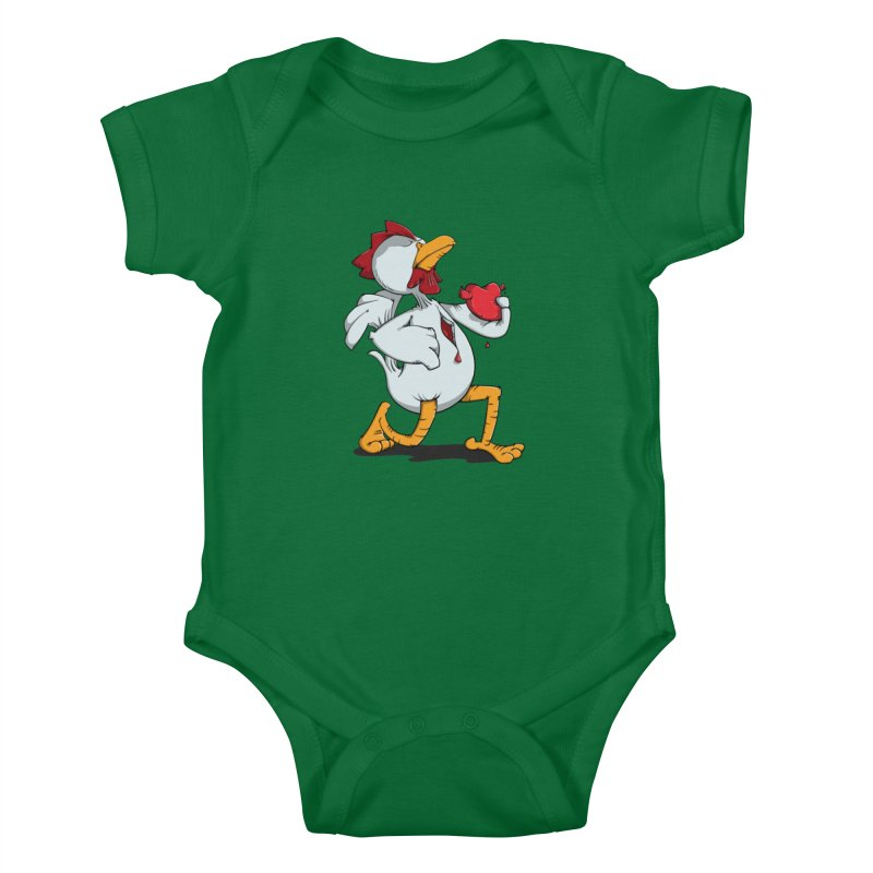 Chicken Heart Kids Baby Bodysuit by Illustrated Madness