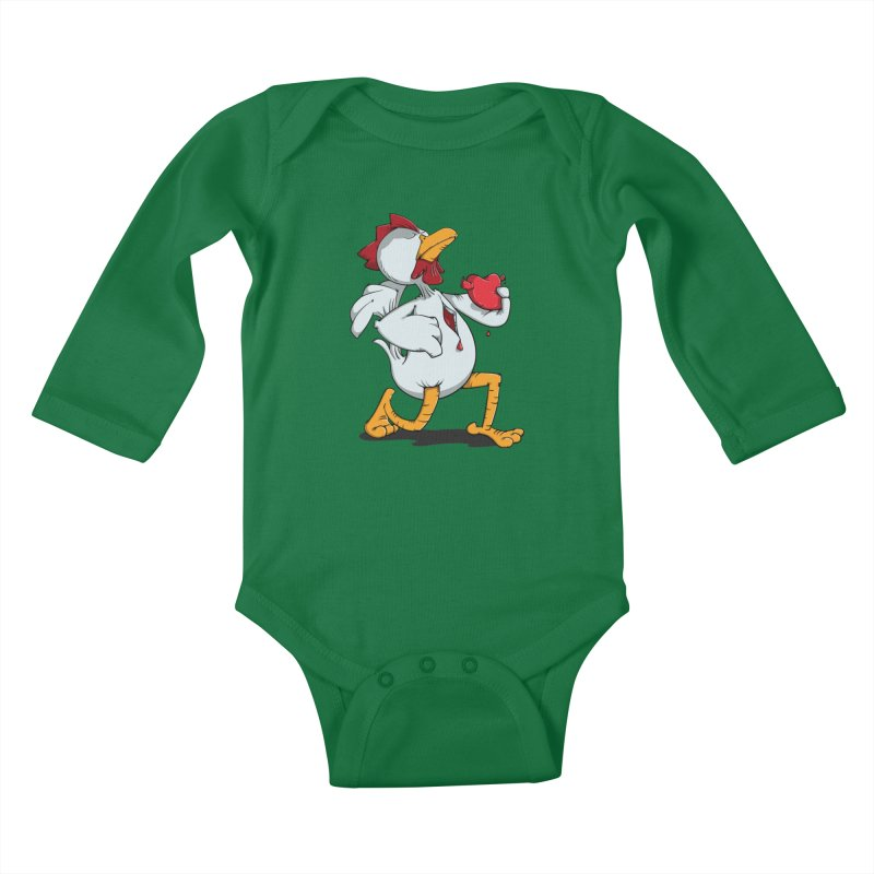Chicken Heart Kids Baby Longsleeve Bodysuit by Illustrated Madness