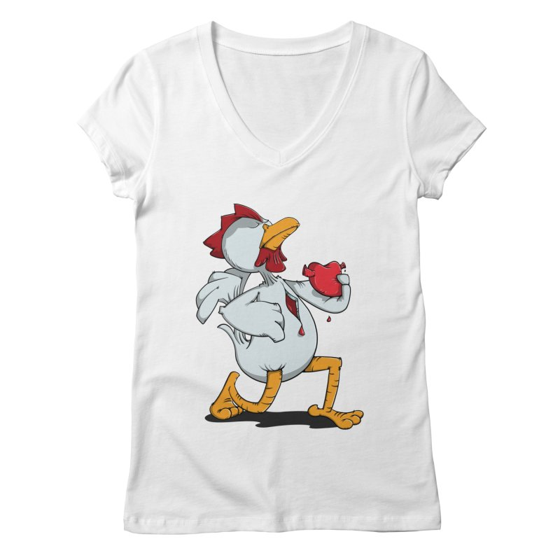 Chicken Heart Women's V-Neck by Illustrated Madness