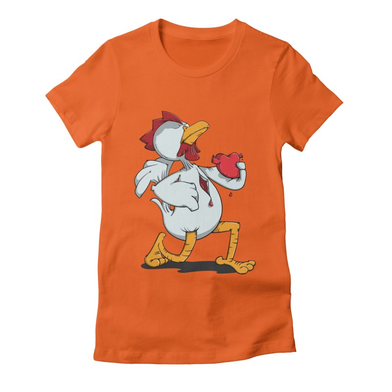 Chicken Heart Women's Fitted T-Shirt by Illustrated Madness