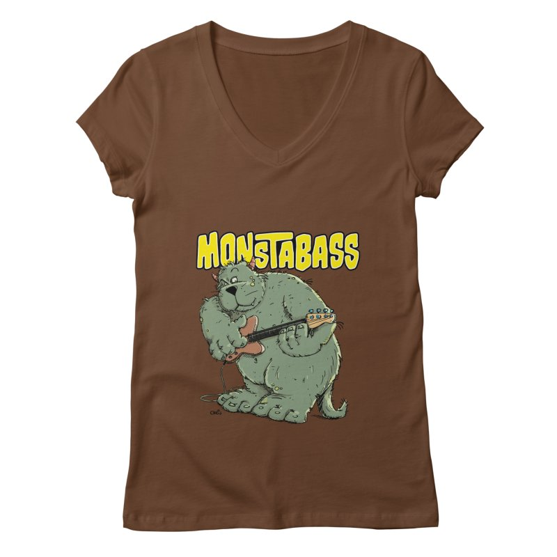 Monsterbass Women's V-Neck by Illustrated Madness