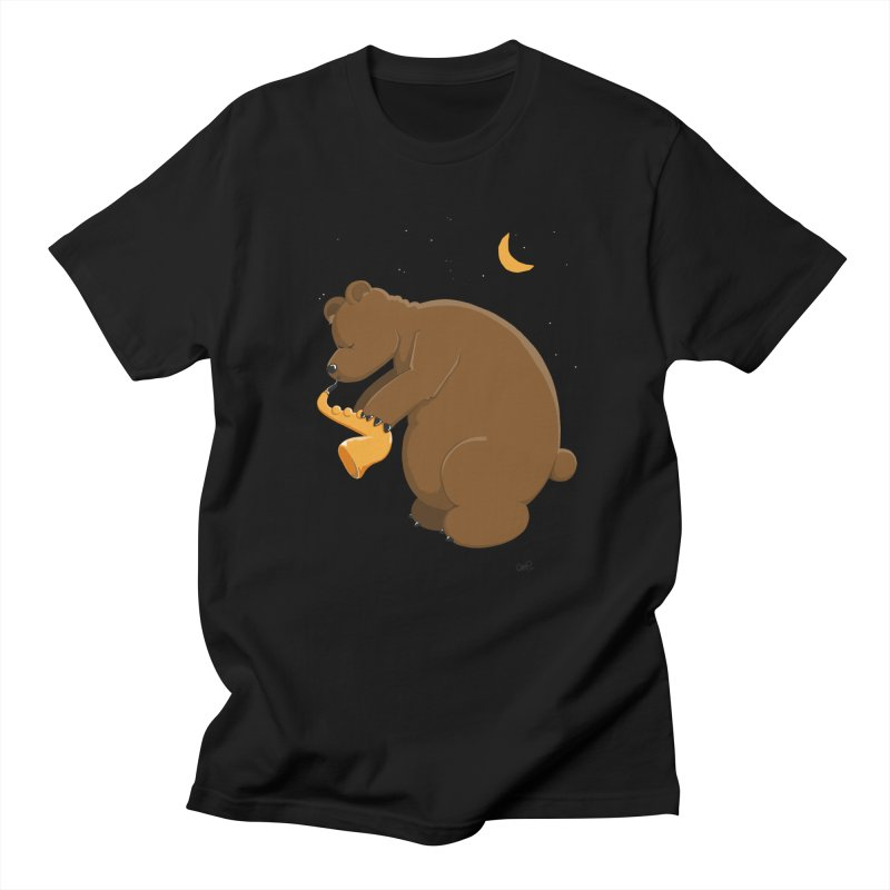 Cute Bear plays a Love Song on the Saxophone in Men's Regular T-Shirt Black by Illustrated Madness