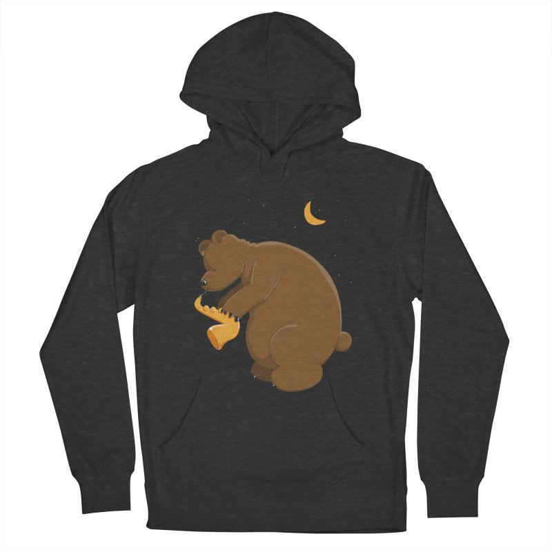 Moon over beary Saxophone Women's Pullover Hoody by Illustrated Madness