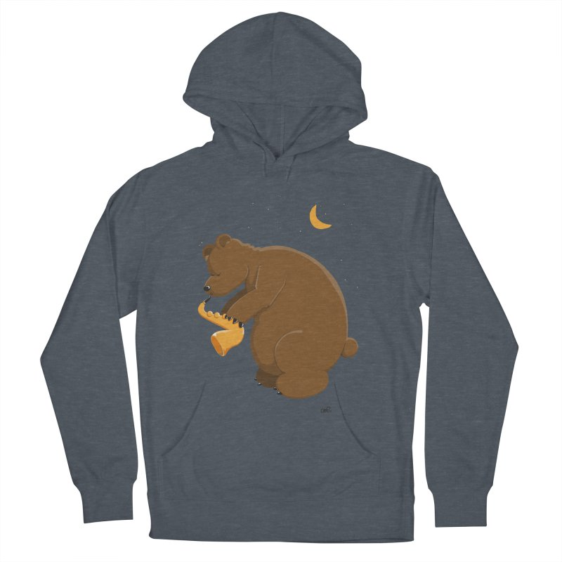 Moon over beary Saxophone Men's Pullover Hoody by Illustrated Madness