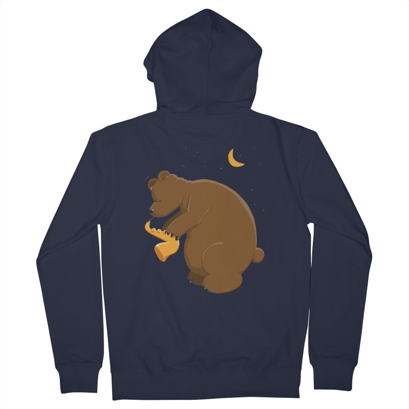 Moon over beary Saxophone Women's Zip-Up Hoody by Illustrated Madness
