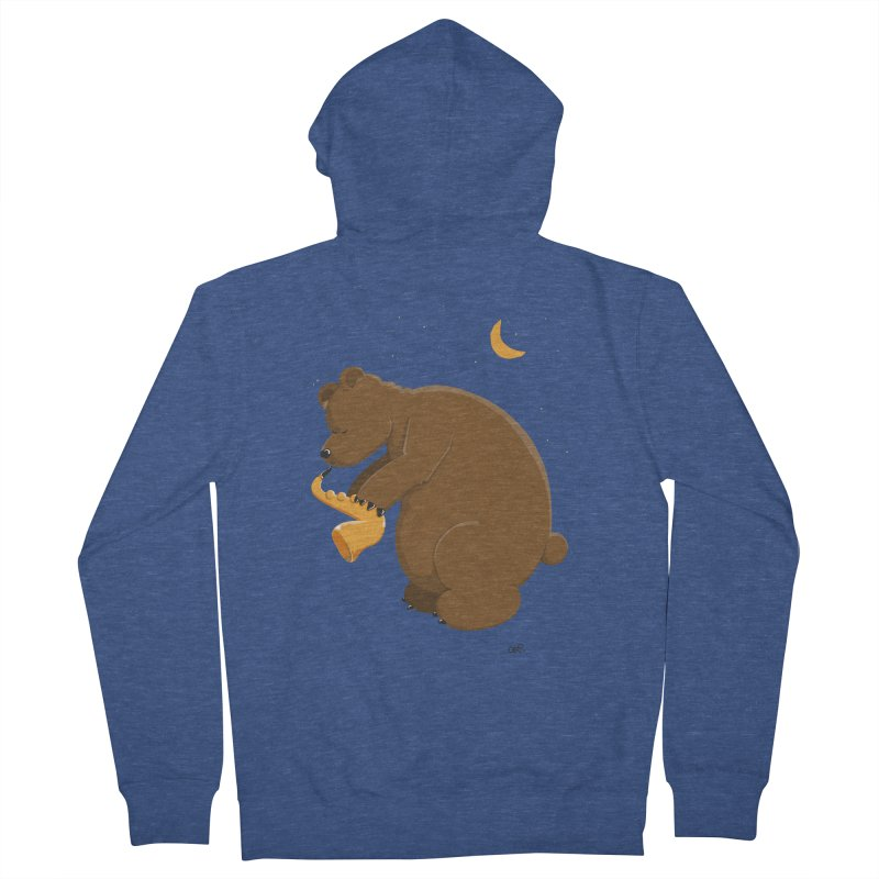 Moon over beary Saxophone Men's Zip-Up Hoody by Illustrated Madness