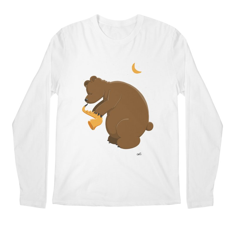 Moon over beary Saxophone Men's Longsleeve T-Shirt by Illustrated Madness