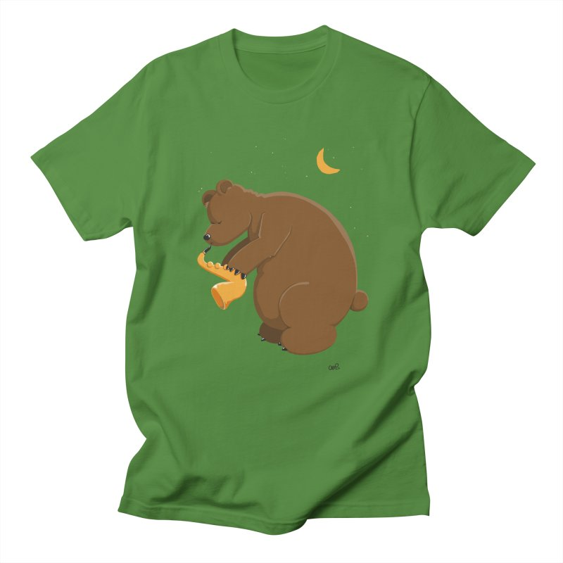 Moon over beary Saxophone Men's T-shirt by Illustrated Madness