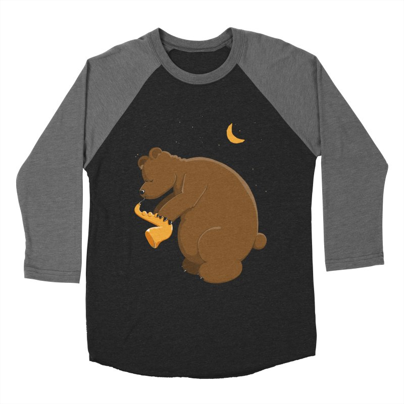 Moon over beary Saxophone Men's Baseball Triblend T-Shirt by Illustrated Madness