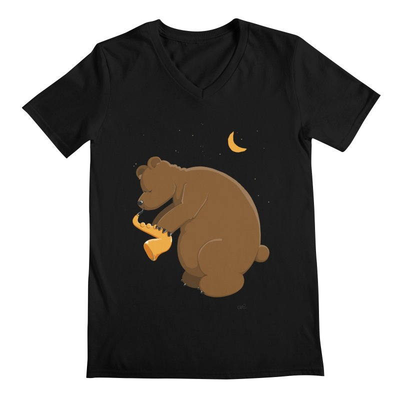 Moon over beary Saxophone Men's V-Neck by Illustrated Madness