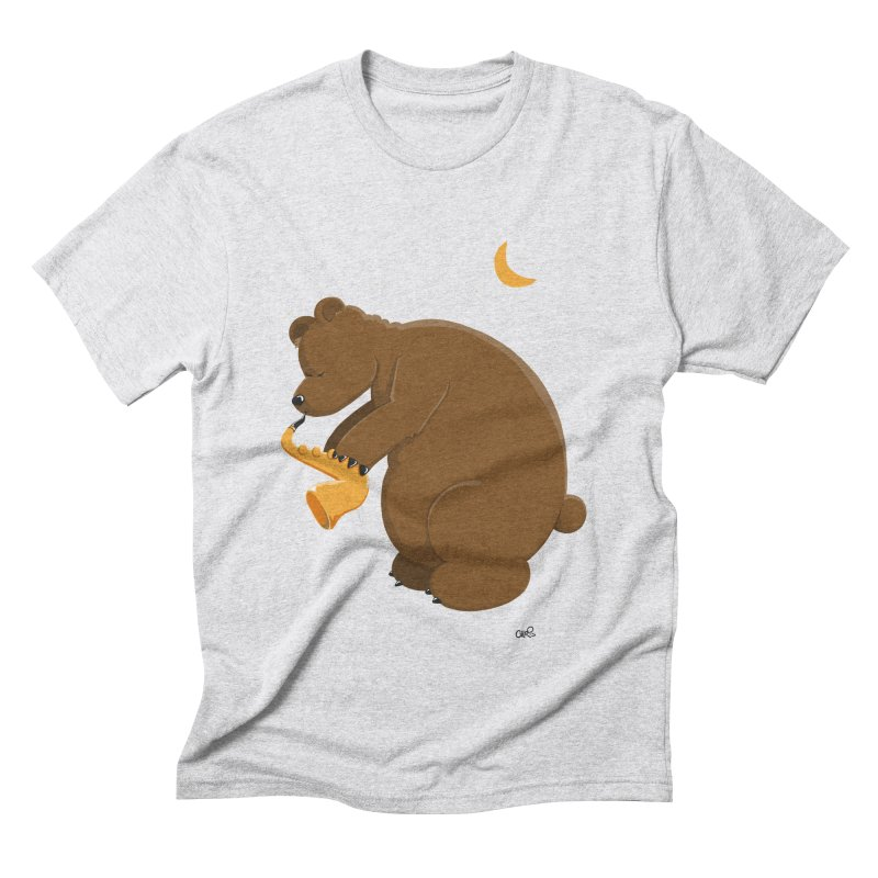 Moon over beary Saxophone Men's Triblend T-shirt by Illustrated Madness