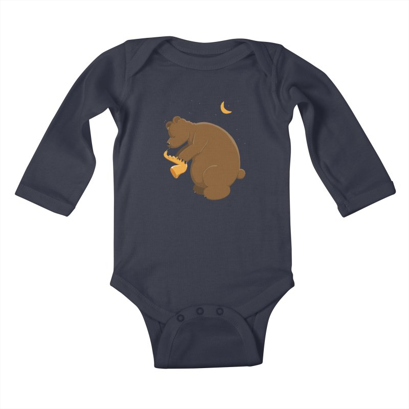 Moon over beary Saxophone Kids Baby Longsleeve Bodysuit by Illustrated Madness