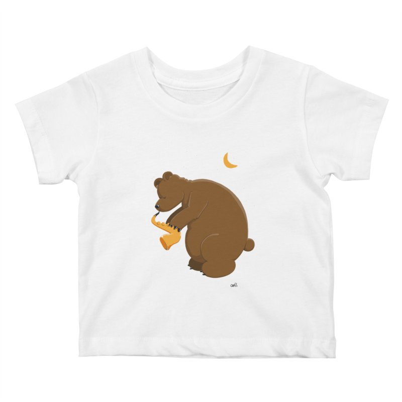 Moon over beary Saxophone Kids Baby T-Shirt by Illustrated Madness