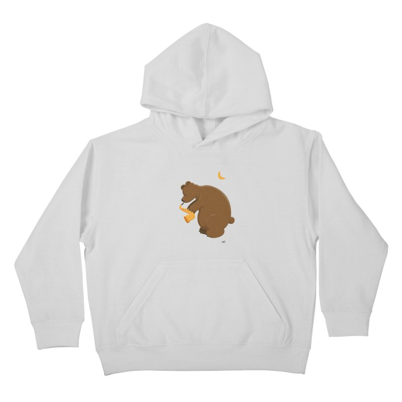 Moon over beary Saxophone Kids Pullover Hoody by Illustrated Madness