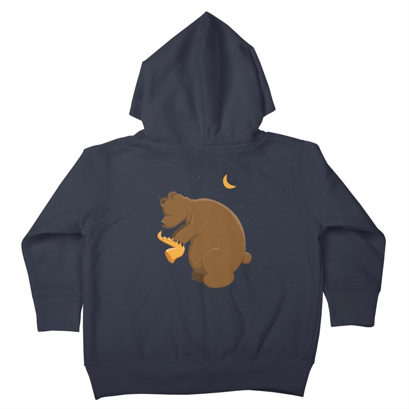 Moon over beary Saxophone Kids Toddler Zip-Up Hoody by Illustrated Madness