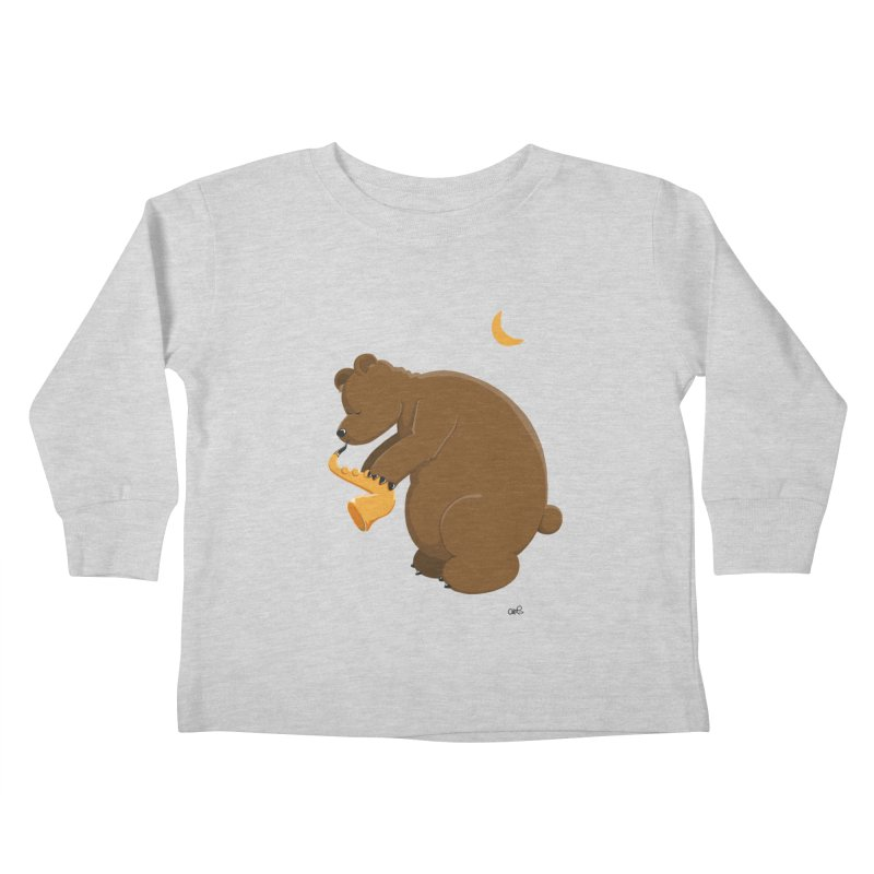 Moon over beary Saxophone Kids Toddler Longsleeve T-Shirt by Illustrated Madness
