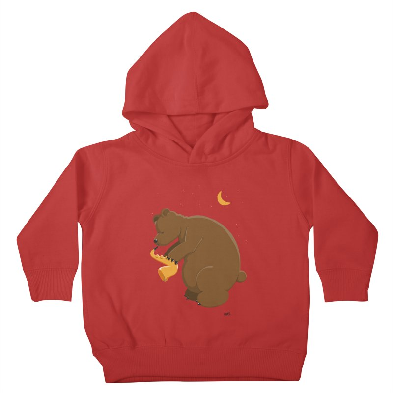 Moon over beary Saxophone Kids Toddler Pullover Hoody by Illustrated Madness