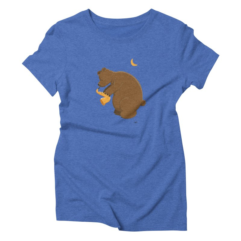 Cute Bear plays a Love Song on the Saxophone in Women's Triblend T-Shirt Blue Triblend by Illustrated Madness