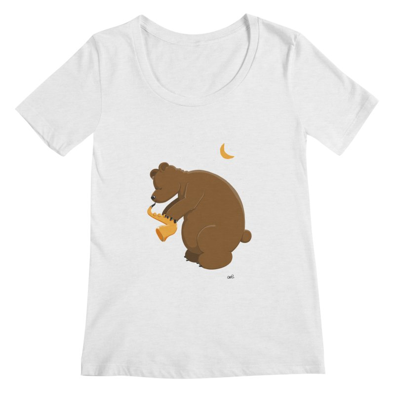 Moon over beary Saxophone Women's Scoopneck by Illustrated Madness
