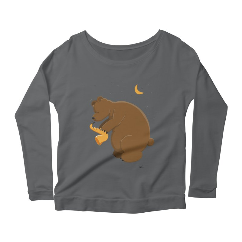 Moon over beary Saxophone Women's Longsleeve Scoopneck  by Illustrated Madness